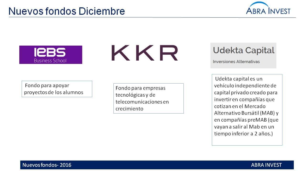 Nuevos fondos en Diciembre: IEBS, KKR y Udekta capital