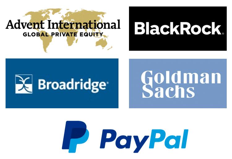 En esta imagen podemos ver los logos de los mayores inversores del mundo Fintech entre los que están Advent International, BlackRock, Broadridge, Goldman Sachs y PayPal